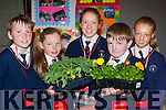 Conor Lane, Grace Cahill, Lucia Collins, Christopher Collins, and Orla Duncan Scoil Mhuire Knocknagoshel who grew plants and flowers for their Junior Entrepreneur project finals at the Malton Hotel on Wednesday