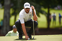 Corey Conners (CAN) lines up his putt on 3 during round 2 of the 2019 Tour Championship, East Lake Golf Course, Atlanta, Georgia, USA. 8/23/2019.<br /> Picture Ken Murray / Golffile.ie<br /> <br /> All photo usage must carry mandatory copyright credit (© Golffile | Ken Murray)