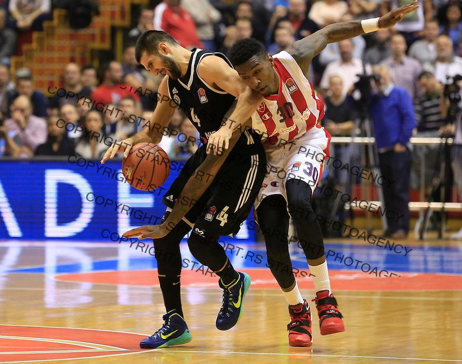 Kosarka ABA League season 2015-2016<br /> Crvena Zvezda v Partizan<br /> Aleksandar Cvetkovic and Quinci Miller (R)<br /> Beograd, 03.11.2015.<br /> foto: Srdjan Stevanovic/Starsportphoto&copy;