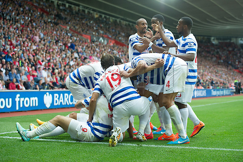 27.09.2014.  Southampton, England. Barclays Premier League. Southampton versus Queens Park Rangers. Charlie Auston celebrates with his team after scoring a goal to equalise the match 1-1.