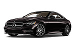 Stock pictures of low aggressive front three quarter view of a 2019 Mercedes Benz S-Class S560 2 Door Coupe