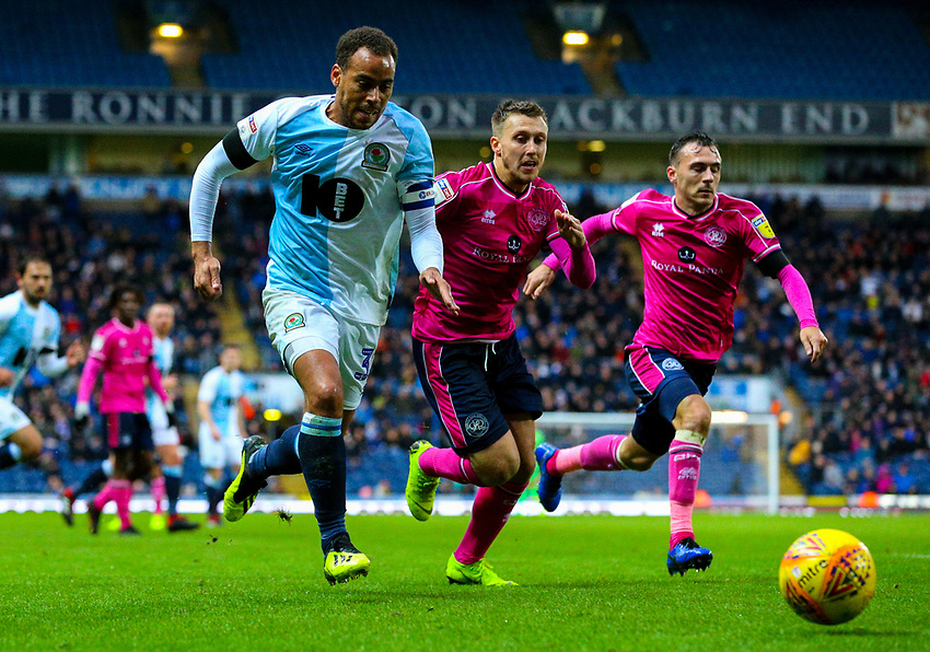 Blackburn Rovers' Elliott Bennett gets away from Queens Park Rangers' Luke Freeman<br /> <br /> Photographer Alex Dodd/CameraSport<br /> <br /> The EFL Sky Bet Championship - Blackburn Rovers v Queens Park Rangers - Saturday 3rd November 2018 - Ewood Park - Blackburn<br /> <br /> World Copyright © 2018 CameraSport. All rights reserved. 43 Linden Ave. Countesthorpe. Leicester. England. LE8 5PG - Tel: +44 (0) 116 277 4147 - admin@camerasport.com - www.camerasport.com