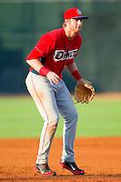 Orem Owlz third baseman Michael Bolaski (8) on defense against the Ogden Raptors at Lindquist Field on July 28, 2012 in Ogden, Utah.  The Raptors defeated the Owlz 8-7.   (Brian Westerholt/Four Seam Images)