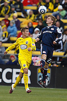 8 MAY 2010:  Robbie Rogers of the Columbus Crew (18) and New England Revolutions' Seth Sinovic (27) during MLS soccer game between New England Revolution vs Columbus Crew at Crew Stadium in Columbus, Ohio on May 8, 2010. The Columbus defeated New England 3-2.