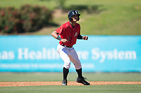 Joel Booker (23) of the Kannapolis Intimidators takes his lead off of second base against the Asheville Tourists at Kannapolis Intimidators Stadium on May 7, 2017 in Kannapolis, North Carolina.  The Tourists defeated the Intimidators 4-1.  (Brian Westerholt/Four Seam Images)