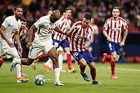 8th February 2020; Wanda Metropolitano Stadium, Madrid, Spain; La Liga Football, Atletico de Madrid versus Granada; Dimitri Foulquier (Granada CF) is pressured by Vitolo of Atletico