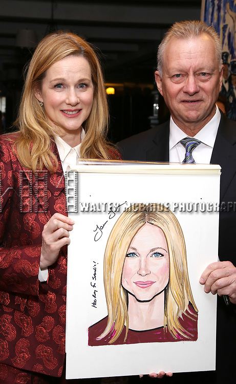 Laura Linney and Max Klimavicius attends the portrait unveilings of Laura Linney and Cynthia Nixon starring on Broadway in the Manhattan Theatre Club's THE LITTLE FOXES, at Sardi's on June 29, 2017 in New York City.