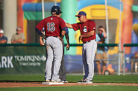 Mahoning Valley Scrappers manager Edwin Rodriguez (52) and Gian Paul Gonzalez (16) question a call with umpire Raul Moreno during a game against the Auburn Doubledays on July 17, 2016 at Falcon Park in Auburn, New York.  Mahoning Valley defeated Auburn 3-2.  (Mike Janes/Four Seam Images)
