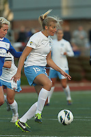 Chicago Red Stars defender/forward Lauren Fowlkes (15) controls the ball. In a National Women's Soccer League Elite (NWSL) match, the Boston Breakers (blue) defeated Chicago Red Stars (white), 4-1, at Dilboy Stadium on May 4, 2013.