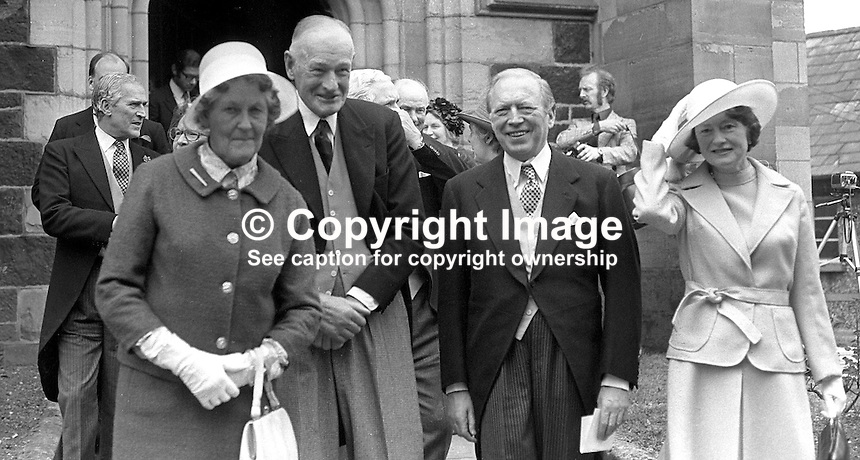 Colonel James Cunningham, grandee, Ulster Unionist Party, N Ireland, left, with Airey Neave, MP, Conservative Party, UK, pictured with their wives at a wedding in N Ireland May 1976. 197605080244c<br />