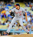 22 July 2011: Washington Nationals pitcher John Lannan on the mound against the Los Angeles Dodgers at Dodger Stadium in Los Angeles, California. The Nationals defeated the Dodgers 7-2 in their first meeting of the 2011 season. Mandatory Credit: Ed Wolfstein Photo
