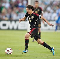 PASADENA, CA – June 25, 2011: Mexican player Andres Guardado (18) during the Gold Cup Final match between USA and Mexico at the Rose Bowl in Pasadena, California. Final score USA 2 and Mexico 4.