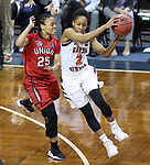 SIOUX FALLS, SD: MARCH 19:  Briana Smith #2 of Carson Newman catches a pass in front of Union defender Chelsey Shumpert #25 during their game at the 2018 Division II Women's Elite 8 Basketball Championship at the Sanford Pentagon in Sioux Falls, S.D. (Photo by Dick Carlson/Inertia)