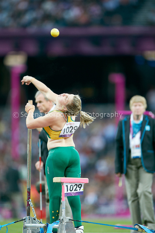 Australia's Brydee Moore finishes sixth in the women's F32/33/34 shot put at the London Paralympic Games - Athletics 6.9.12