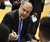 Hofstra University men's basketball head coach Joe Mihalich talks to his team during a timeout in a CAA game against the College of Charleston at Mack Sports Complex in Hempstead on Saturday, Feb. 3, 2018. Hofstra lost by a score of 86-85.