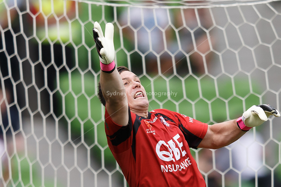 MELBOURNE - 9 FEB: Danny VUKOVIC of the Glory is unable to save a free kick by Nick KALMAR of the Heart in the round 20 A-League match between Melbourne Heart and Perth Glory at AAMI Park on 9 February 2013. (Photo Sydney Low/syd-low.com/Melbourne Heart)
