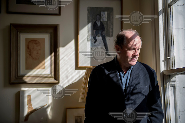 Author William Boyd at his home in Chelsea, London.