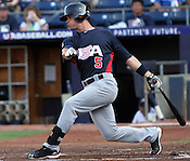 Matt Reynolds hits the ball in Game 3 of the annual Collegiate Friendship Series between Team USA and Japan on Tuesday, July 5, 2011. Photo by Al Drago.
