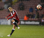 Harry Chapman of Sheffield Utd takes a free kick during the Emirates FA Cup Round One match at Bramall Lane Stadium, Sheffield. Picture date: November 6th, 2016. Pic Simon Bellis/Sportimage