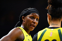 Washington, DC - June 14, 2019: Seattle Storm forward Crystal Langhorne (1) during game between Seattle Storm and Washington Mystics at the St. Elizabeths East Entertainment and Sports Arena in Washington, DC. The Storm hold on to defeat the Mystics 74-71. (Photo by Phil Peters/Media Images International)