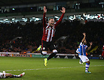 Caolan Lavery of Sheffield Utd celebrates what would of been the equaliser during the English League One match at Bramall Lane Stadium, Sheffield. Picture date: November 29th, 2016. Pic Simon Bellis/Sportimage