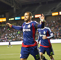 CARSON, CA – APRIL 30, 2011: Chivas forward Alejandro Moreno (15) celebrates his goal during the match between Chivas USA and New England Revolution at the Home Depot Center, April 30, 2011 in Carson, California. Final score Chivas USA 3, New England Revolution 0.