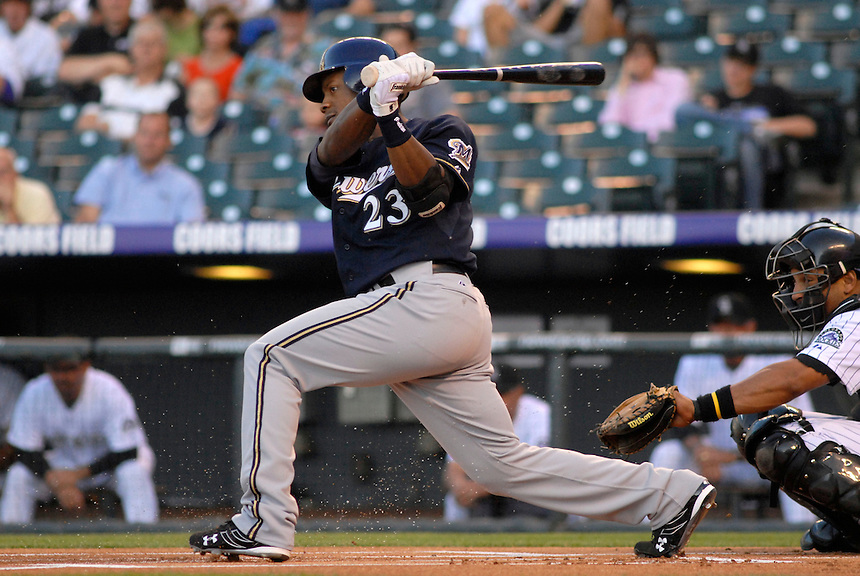 06 June 08: Milwuakee Brewers 2nd baseman Richie Weeks at bat against the Colorado Rockies. The Rockies defeated the Brewers 6-4 at Coors Field in Denver, Colorado on June 6, 2008. For EDITORIAL use only