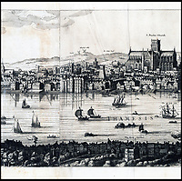 BNPS.co.uk (01202 558833)<br /> Pic: Christies/BNPS<br /> <br /> A remarkable 393 year old panorama of London which reveals how the city looked before the great fire destroyed large parts of it has sold at auction for &pound;106,000.<br /> <br /> The 7ft panorama, taken from the South Bank, has the old St Paul's Cathedral and London Bridge, which were rebuilt following the blaze, as central features.<br /> <br /> Remarkably, its creator, the Dutch engraver and cartographer Claes Jansz Visscher, never visited London, so the panorama required some imagination - the Tower of London boasts onion-styled domes.<br /> <br /> It is one of only two known copies to exist, with the other one residing in the Folger Library in Washington DC, United States.