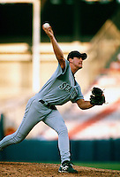 Derek Lowe of the Seattle Mariners during a game at Anaheim Stadium in Anaheim, California during the 1997 season.(Larry Goren/Four Seam Images)