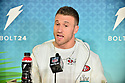 San Francisco 49ers Fullback Kyle Juszczyk (#44) answers questions from the media during the NFL Super Bowl ( LIV)(54) Opening Night at Marlins Park on January 27, 2020  in Miami, Florida. ( Photo by Johnny Louis / jlnphotography.com )