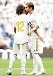 Real Madrid's Marcelo Vieira (l) and Sergio Ramos during La Liga match. September 14,2019. (ALTERPHOTOS/Acero)