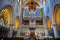 Interior and organ of the the medieval Wells Cathedral built in the Early English Gothic style in 1175, Wells Somerset, England