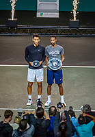 Rotterdam, The Netherlands, 16 Februari 2020, ABNAMRO World Tennis Tournament, Ahoy,<br /> Mens Single Final: Winner  Gaël Monfils (FRA) (R) and  the runner up Felix Auger-Aliassime (CAN) with the trophy<br /> Photo: www.tennisimages.com