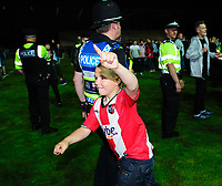 Exeter City fans celebrate at the end of the game<br /> <br /> Photographer Chris Vaughan/CameraSport<br /> <br /> The EFL Sky Bet League Two Play Off Second Leg - Exeter City v Lincoln City - Thursday 17th May 2018 - St James Park - Exeter<br /> <br /> World Copyright &copy; 2018 CameraSport. All rights reserved. 43 Linden Ave. Countesthorpe. Leicester. England. LE8 5PG - Tel: +44 (0) 116 277 4147 - admin@camerasport.com - www.camerasport.com