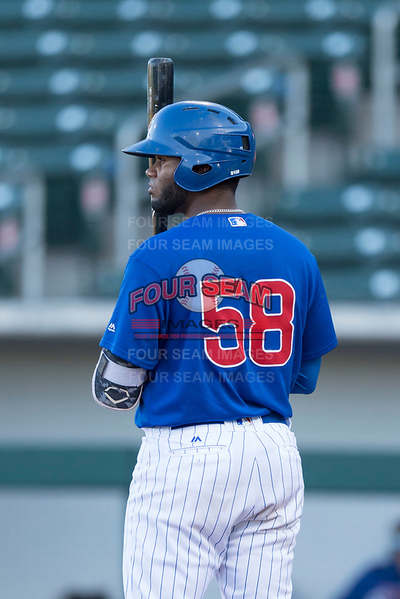 AZL Cubs 1 first baseman Rafael Mejia (58) at bat during an Arizona League playoff game against the AZL Rangers at Sloan Park on August 29, 2018 in Mesa, Arizona. The AZL Cubs 1 defeated the AZL Rangers 8-7. (Zachary Lucy/Four Seam Images)