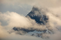 Clouds form over the Aleutian mountain range, Katmai National Park, Alaska Peninsula, southwest Alaska.