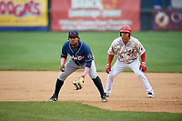 New Hampshire Fisher Cats first baseman Juan Kelly (25) in front of Austin Davidson (8) during the second game of a doubleheader against the Harrisburg Senators on May 13, 2018 at FNB Field in Harrisburg, Pennsylvania.  Harrisburg defeated New Hampshire 2-1.  (Mike Janes/Four Seam Images)