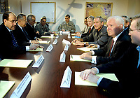 Al Asad, Iraq - September 3, 2007 -- United States President George W. Bush, Secretary of Defense Robert M. Gates, National Security Advisor Steve Hadley, U.S. Ambassador to Iraq Ryan Crocker, and Secretary of State Condolezza Rice, meet with Iraqi President Jalal Talabani and Prime Minister Nouri al Makili and other high ranking Iraqi Government officials at Al Asad Air Base, Iraq, Monday, September 3, 2007.  <br /> CAP/MPI/CNP/RS<br /> &copy;RS/CNP/MPI/Capital Pictures