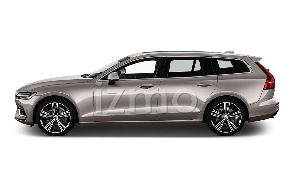 Car driver side profile view of a 2020 Volvo V60 Inscription 5 Door Wagon