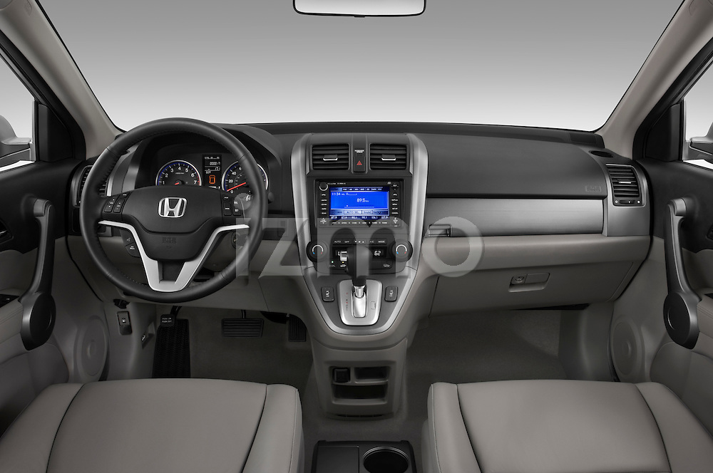 Straight dashboard view of a 2008 Honda CRV.