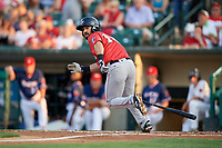 Pawtucket Red Sox second baseman Mike Miller (10) runs to first base during a game against the Rochester Red Wings on July 4, 2018 at Frontier Field in Rochester, New York.  Pawtucket defeated Rochester 6-5.  (Mike Janes/Four Seam Images)