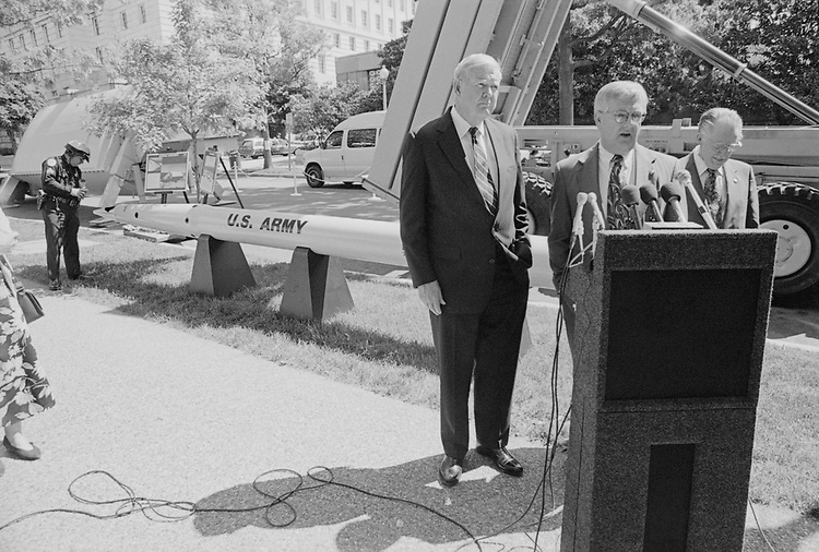 Rep. John Murtha, D-Pa., with other Congressmen at a press conference during defense press briefing in April, 1998. (Photo by Rebecca Roth/CQ Roll Call via Getty Images)