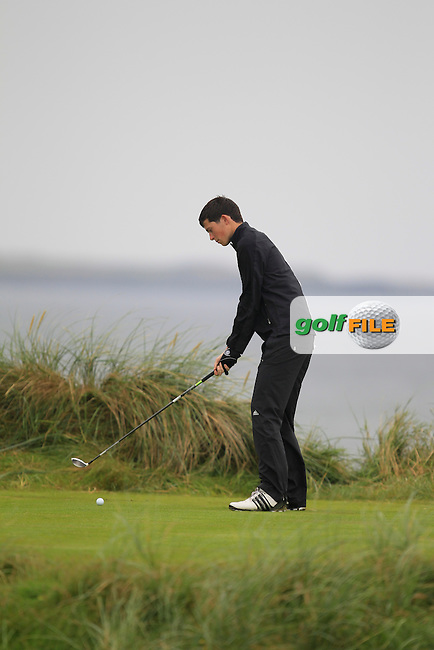 Ryan McKinstry (Cairndhu) on the 4th tee during the South of Ireland Amateur Open Championship Semi-Finals at Lahinch Golf Club  31th July 2013 <br /> Picture:  Thos Caffrey / www.golffile.ie