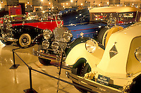 antique cars, South Deerfield, Massachusetts, MA, Antique cars displayed inside Yankee Candle Car Museum at the Yankee Candle Company in South Deerfield in the autumn.