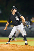 Relief pitcher Spencer Shelton #43 of the Bristol White Sox in action against the Burlington Royals at Burlington Athletic Stadium August 13, 2010, in Burlington, North Carolina.  Photo by Brian Westerholt / Four Seam Images