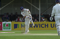 31/05/2002.Sport -Cricket - 2nd NPower Test -Second Day.England vs Sri Lanka.Graham Thorpe 'Plays and Miss' [Mandatory Credit Peter Spurrier:Intersport Images]