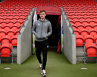 Lincoln City's Callum Connolly arrives at the ground prior to the game<br /> <br /> Photographer Chris Vaughan/CameraSport<br /> <br /> EFL Leasing.com Trophy - Northern Section - Group H - Doncaster Rovers v Lincoln City - Tuesday 3rd September 2019 - Keepmoat Stadium - Doncaster<br />  <br /> World Copyright © 2018 CameraSport. All rights reserved. 43 Linden Ave. Countesthorpe. Leicester. England. LE8 5PG - Tel: +44 (0) 116 277 4147 - admin@camerasport.com - www.camerasport.com
