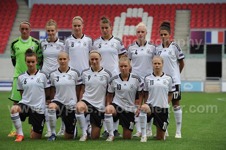 The German team during the UEFA Womens U19 Semi-Final at Parc y Scarlets Wednesday 28th August 2013. All images are the copyright of Jeff Thomas Photography-www.jaypics.photoshelter.com-07837 386244-Any use of images must be authorised by the copyright owner.