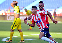 BARRANQUILLA - COLOMBIA, 04-02-2018: Luis Díaz jugador del Atlético Junior celebra después de anotar un gol al Atlético Bucaramanga durante el partido entre el Atlético Junior   y Atlético Bucaramanga  por la fecha 1 de la Liga Águila II 2018 jugado en el estadio Metropolitano Roberto Melendez en la  ciudad de Barranquilla . / Luis Diaz player of Atletico Junior  celebrates after scoring a goal to Atletico Bucaramanga  during match between Atletico Junior  and Atletico Bucaramanga  for the date 1 of the Aguila League II 2018 played at Metropolitano Roberto Melendez stadium . Photo: VizzorImage/ Alfonso Cervantes  / Contribuidor