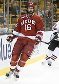 Alex Fallstrom (Harvard - 16) - The Harvard University Crimson defeated the Northeastern University Huskies 3-2 in the 2012 Beanpot consolation game on Monday, February 13, 2012, at TD Garden in Boston, Massachusetts.